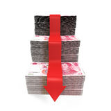 Chinês Yuan e seta vermelha Imagens de Stock Royalty Free