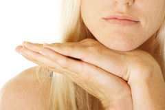 Chin on hands Stock Photography