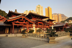 Chin Li nunnery, Hong Kong. The Chin Li nunnery and temple in Hong Kong Diamond Hill. View of the temple, gardens and housing buildings in the background royalty free stock image