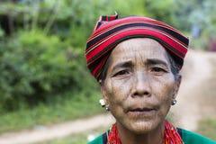 Chin tribe tattoed woman (Ngagah). KANPETLET MYANMAR, DECEMBER 9: Chin tribe tattoed woman (Ngagah) poses for a photo on December 9, 2015 Kanpetlet, Myanmar stock images