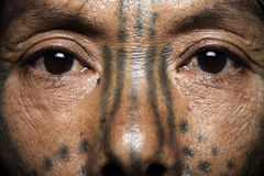 Chin tribe tattooed woman close up Stock Images