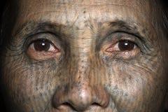 Chin tribe tattooed woman (Yin Duu) Royalty Free Stock Photo