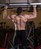 Chin-Ups workout in the gym. Muscular Young Man Doing Pull Ups (Chin-Ups) in the Gym Stock Photo
