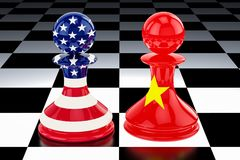 China–United States confrontation and opposition concept. 3D r stock illustration