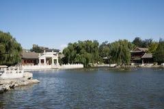 China, Ásia, Pequim, o jardim grande da vista, construções antigas Foto de Stock Royalty Free