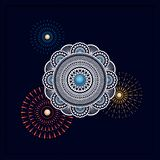 Indian traditional mandala design on dark background. template for backgrounds, cards, gift cards, packaging. Indian traditional colorful mandala design on dark stock illustration