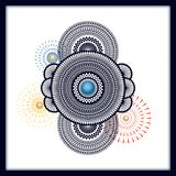 Traditional indian mandala background with fireworks. design for card, gift card, packaging, print stock illustration