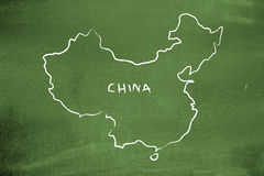China. Drawn on a green chalkboard Royalty Free Stock Photo