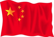 China. Waving flag of China isolated on white background