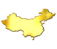 China 3d Golden Map Royalty Free Stock Image