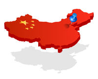 China 3d flag map with pin on capital Royalty Free Stock Photo