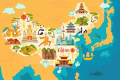 China Abstract Map, Hand Drawn Illustration Stock Photography