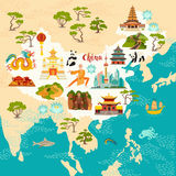 China abstract map, hand drawn vector illustration. Travel illustration of China with landmarks icons, temple, dragon, Shaolin monk, lanterns, pandas and rice royalty free illustration