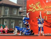 China acrobatics. China acrobatics at dragon raising-head temple fair  He-ping Tianjin China photoed on march 2nd 2014 Royalty Free Stock Photo