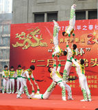 China acrobatics. China acrobatics at dragon raising-head temple fair  He-ping Tianjin China photoed on march 2nd 2014 Stock Photography