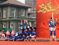 China acrobatics  performances. China acrobatics performances at dragon raising-head temple fair He-ping  Tianjin China photoed on march 2nd 2014 Stock Photo