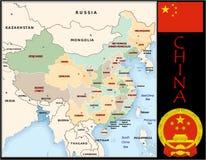 China Administrative divisions. China map flag and coat Stock Images