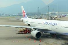 China Airlines Airbus 330-300 a Hong Kong Airport fotografia stock libera da diritti