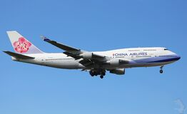 China Airlines plane in flight Royalty Free Stock Photo