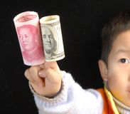 China America currency. China and America currency and go for peace Stock Photo