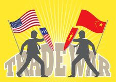 China and America Trade War. An illustration of two businessman holding national flag and shield ready to fight on trade war Royalty Free Stock Photos
