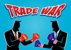 China and America Trade War. An illustration of two businessman wearing boxing glove ready to fight on trade war Royalty Free Stock Photography