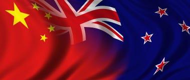 China & Nieuw Zeeland vector illustratie