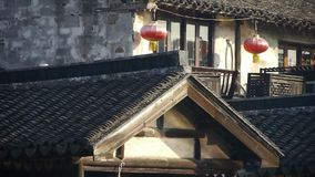 China ancient architecture hanging red lanterns in XiTang Water Town,shanghai. stock video