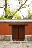 China ancient buildings The red door. In Asia, Beijing Old Summer Palace China, Zhengjue Temple The red door Stock Image