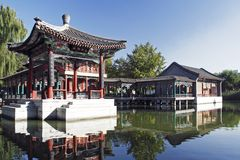 China ancient garden scenery. Located the Chinese ancient building in the beautiful environment Royalty Free Stock Photos