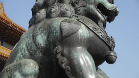 China ancient royal bronze lion. stock video footage