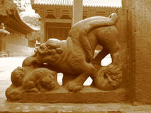 China, ancient sculpture in Chinese temple,Shaolin Royalty Free Stock Photography