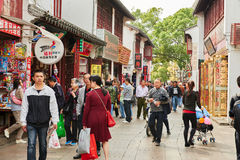 China ancient shopping street. Traveling in China ancient shopping street,Qibao old street as commercial street,Shanghai city Stock Photo