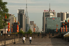 China antigua y moderna en Xian Fotografía de archivo