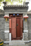 China antique building gate. China Beijing alley antique building gate Stock Photos