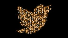 China-Apr 12,2018:4k circuit board electrons shaped twitter logo.electronic connections,Global internet social media,worldwide. China-Apr 12,2018:4k circuit stock illustration