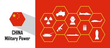 China military power icon with hexagon flag. Free royalty images Royalty Free Stock Photos