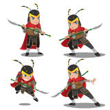 China Armor Warrior Character Set. Vector vector illustration