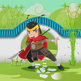 China Asia Armor Warrior Background. Vector royalty free illustration