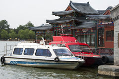China Asia, Beijing, Beihai Park, pavilions, terraces and open halls, motorboat Royalty Free Stock Photography