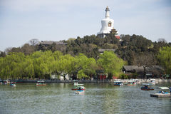 China Asia, Beijing, Beihai Park, the Royal Garden, ancient architecture, water boat Royalty Free Stock Images