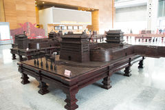 China Asia, Beijing, the capital museum, red sandalwood group sculpture works Stock Photos