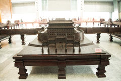 China Asia, Beijing, the capital museum, red sandalwood group sculpture works Stock Photo