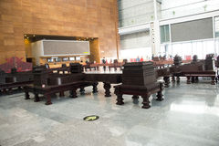 China Asia, Beijing, the capital museum, red sandalwood group sculpture works Royalty Free Stock Photography