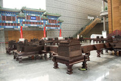 China Asia, Beijing, the capital museum, red sandalwood group sculpture works Stock Images