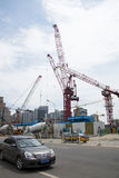China Asia, Beijing, Central Business District, in the construction of CBD,tower crane Royalty Free Stock Photography