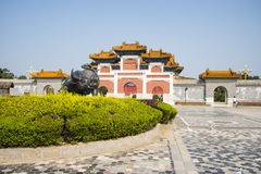 China Asia, Beijing, China culture garden, garden building,Pailou, cow sculpture Royalty Free Stock Image