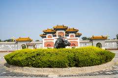 China Asia, Beijing, China culture garden, garden building,Pailou, cow sculpture Royalty Free Stock Images