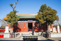 China and Asia, Beijing,the history of the building, Bei Ding Niangniang Temple,palace hall,ancient cypress Stock Photography