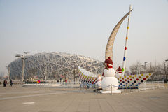 China Asia, Beijing, the National Stadium, New Year decoration, snowman, sailing Royalty Free Stock Photos